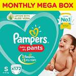 40% Off - Pampers New Diapers Pants Monthly Box Pack, Small (172 Count) at Rs.1319