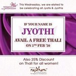 Free Rajdhani Thali if your name is Jyoti / Jyothi on 5th February
