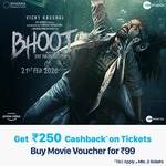 Paytm -Purchase Movie Pass at Rs.99 & Get 100% Cashback up to Rs.250 on Bhoot Part One: The Haunted Ship movie Tickets