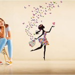 Wall Stickers Dreamy Girl With Flying Colorful Butterflies @ 99/- only