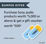 Sony Days - Purchase Any Sony Audio Products Worth Rs. 5000 & Get Rs. 500 Gift Voucher (7th -10th Feb)