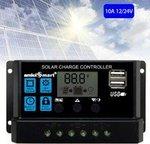 amiciSmart Solar Charger Controller 10A/Intelligent Battery Regulator for Solar Panel LCD Display with USB Port + 12V/24V (10A)