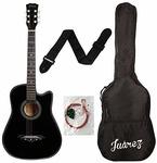 Juârez Acoustic Guitar, 38 Inch Cutaway, 038C with Bag, Strings, Pick and Strap, Black