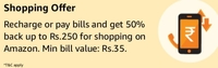 Recharge/Pay Bill with min 35 and Unlock shopping offer 50% upto 250(User Specific)