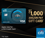 Apply for Citi Card & Get Amazon Pay Gift Card worth Rs.1000 on spends of Rs. 2500 in 30 days