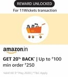 Get 20% cashback on shopping on Amazon Pay when you pay on 11wickets (able to collect without any txn)