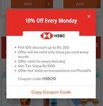 Grofers hsbc card offer: 10% upto 200 on min 1500 (Monday)