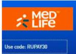 Flat 30% off  at Medlife via Rupay Cards