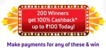 PhonePe - 200 winners get 100% cashback upto Rs.100 today