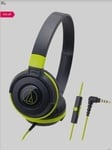 Audio-Technica ATH-S100iS On the Ear Wired Headphone with Mic (Black/Green)