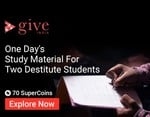 Donate one day's study material for 2 destitute students @ 70 Coins
