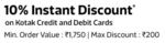 FLIPKART 10% Instant Discount with Kotak Bank Debit and Credit Cards on purchase of Groceries.