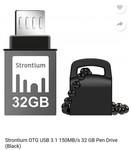 strontium OTG USB 3.1 150 MB/s 32 GB pen drive (black)