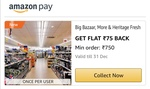 Amazon: Make a payment at More, Big Bazaar or Heritage Fresh Stores and Get Flat ₹75 back on Minimum Order of Rs 750
