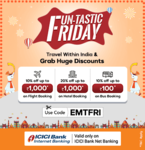 EaseMyTrip | ICICI(NB) - 10% up to 1k on Flight, 20% up to 1k on Hotel and 10% up to Rs.100 on Bus