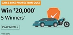 Amazon car & bike protection quiz answer and win ₹20000 (5 winners)