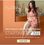 Lifestyle New Season Sale | Fashion starting from Rs. 399 | Clothing & watches Upto 70% off + Extra 15% off via coupon