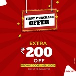 Get Rs.200 Off on first Purchase Use Code- HELLO200 , + levis clothing flat 60% off