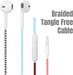 Crossloop Designer Series 3.5mm Universal in-Ear Headphones with Mic and Volume Control (Maroon, Orange & Sky Blue