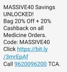Medlife - 20%off + 20%cashback