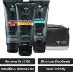 BOMBAY SHAVING COMPANY Charcoal Skin Care Travel Pack with Face Wash, Face Scrub and Peel Off Mask and Travel bag for Dirt removal, Tan reduction and Anti Pollution Effect (100 g x 3)  (3 Items in the set)