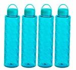 Steelo Jewel Plastic Water Bottle, 1 Litre, Set of 4, Turkish Blue