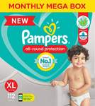 Pampers All round Protection Pants, Extra Large size baby diapers (XL), 112 Count, Anti Rash diapers, Lotion with Aloe Vera