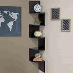 BRANDFIT Black Wooden Corner Zigzag Wall Shelf for Home Decor Wall Decor Living Room Decor Gifting Item upto 64%off