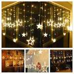 DesiDiya® 12 Stars 138 LED Curtain String Lights Window Curtain Lights with 8 Flashing Modes Decoration for Christmas, Wedding, Party, Home, Patio Lawn Warm White (138 LED - Star) @ 599/-