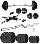 Kore PVC 20-50 Kg Home Gym Set with One 3 Feet Curl and One Pair Dumbbell Rods