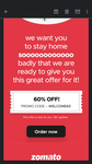Zomato : Get 60% Off Upto ₹100 [User Specific - Old user]