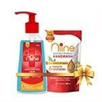 (Combo Pack) 500 ml Pump Niine Hand Sanitizer Liquid 70% Alcohol,  + 180ml Hand wash Refill
