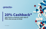 Get 20% cashback up to ₹100 on your first Simpl transaction on Practo