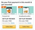 Amazon : Flat 50 Cashback on Postpaid & Landline Or Broadband min 300