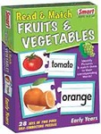 Smart - 1083 Read and Match Fruits and Vegetables Puzzle (Multi-Color, 28 Pieces)