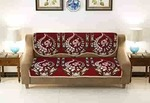 Vaini Cotton Heavy Fabric 500 TC Floral Design 3 Seater Sofa Cover Use Both Side -6 Pieces - Maroon