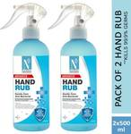 NutriGlow NATURAL'S Pack of 2 - Anti-Bacterial (Advanced Organics) Hand Rub 70% Alcohol Natural Olive Extract For Deep Cleanse|Mouisturize Hands (2*500) Hand Rub Pump Dispenser  (2 x 500 ml)