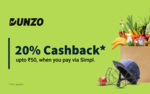 Get 20% cashback up to ₹50 on your Dunzo order when you pay via Simpl