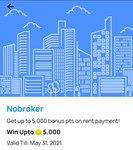 Get 2500 to 5000 rewards points on rent payment on nobroker using your onecard
