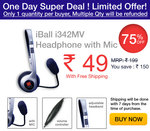 iBall i342MV Headphone with Mic @ Rs. 49/- at Ebay