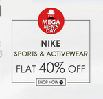 Flat 40% off or more + extra 20% off on Nike Sportswear & Activewear with no minimum purchase