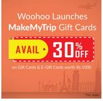 30% Off on MakeMyTrip Gift Cards and E-gift cards at woohoo