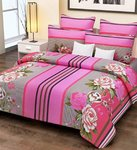 Home Candy 100% Cotton Pink Stripes and Flowers Double Bed Sheet with 2 Pillow Covers for Rs. 499 @ Amazon