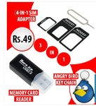 Micro SD Card Reader,4-In-1 Sim Adapter & Angry bird keychain@49/- FREE SHIPPING