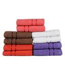 Towel Town Multicolour Plain Cotton Face Towel - Set of 10 Rs.243/-