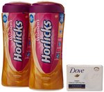 (Buy one Get One Free) Women's Caramel Horlicks - 400g + 400g with Free Dove Baby Soap - 50 g
