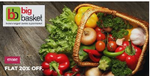 Flat 20% off on Bigbasket on min 1000rs (Max 250rs) for new user