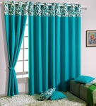 Flat 42% Off, Turquoise Blue Cotton 60 x 54 Inch Solid Eyelet Window Curtain for Rs. 663 - Pepperfry.com