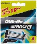 [Lightning Deal ]Gillette Mach3 Blades - 4 Cartridges @ 218 MRP 435