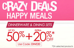 Upto  50% Off + Extra 20% Off on Dinnerware & Dinning Sets @Fabfurnish